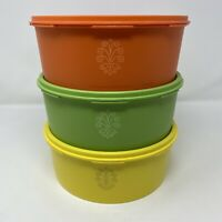 Vintage Tupperware Servalier Stacking Canisters Harvest Colors 1204 6 Piece Set