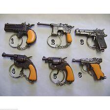 6 Design To Choose Die Cast Novelty Miniature Solid Metal Gun Keyrings Cap Gun