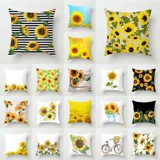 "18"" Sunflower Pillow Case Sofa Car Waist Throw Cushion Cover Office Home Decor"
