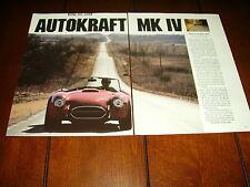 1986 AUTOKRAFT MK IV COBRA ***ORIGINAL 1986 ARTICLE***