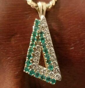 18k gold emerald & diamond pendant stunning!!