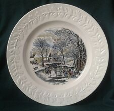 ADAMS DINNER PLATE WINTER SCENES NEW YORK IRONSTONE CHINA PLATE EMBOSSED BORDER
