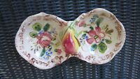 Relish Dish Double Bowl Jam Jelly Hand Painted Applied Fruit Pear Italy Vintage