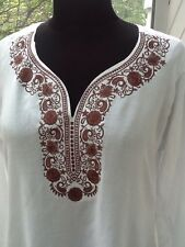 Ladies Embroidered Tunic White w/ Chocolate Brown Trim - M / L