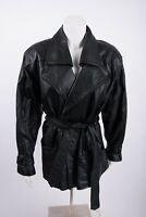 Body Exteriors Women's Leather Black Coat Jacket Medium Belted Biker Vintage