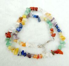 Natural agate lapis lazuli amethyst Rainbow 7 Layered Healing Chakra necklace R1
