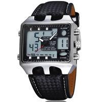 OHSEN Men Sport Digital Watches Leather Strap Analog Quartz Rectangle Wristwatch