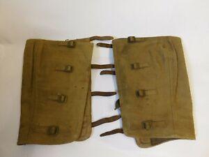ORIGINAL WW2 BRITISH ARMY WEBBING HIGH LEG GAITERS. DISTATCH RIDER, MOTORCYCLE