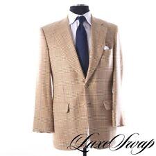 Paul Stuart English Silk Blend Honey Blonde Multi Summer Tweed Plaid Jacket 39 L
