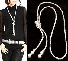 XXL 120cm Perlen Kette Statement Perlenkette Halskette Goldfarben 1192