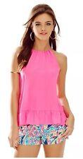 NWT Lilly Pulitzer Millie Halter Top Tropical Pink Sz XXS 100% Silk Retail $108