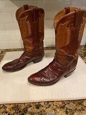 Vintage Lucchese Brown Lizard leather cowboy boots handmade San Antonio 10-1/2 D
