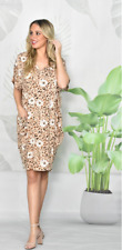 NWT Dress V Neck Leopard Taupe & Floral Plus Sizes + fit 10 to 20 New Collection