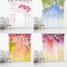 Sakura Floral Eyelet Blackout Door Window Curtains Cafe Kitchen Decor Drapery