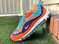 Nike Air Max 98 QS Cone Yellow Grape Size 12 924462-800 USED