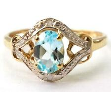 SYJEWELLERY 9CT YELLOW GOLD NATURAL OVAL BLUE TOPAZ & DIAMOND RING SIZE N R1332