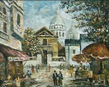 Tableau huile vue animée de Paris Montmartre signé Vélogi XXe