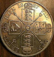 1887 UK GREAT BRITAIN VICTORIA SILVER DOUBLE FLORIN - Fantastic example!
