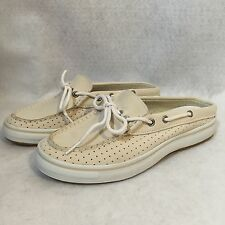 Sperry Top-Sider Women's Bone Beige Leather Anchor Slide Boat Shoes Sz 6 M