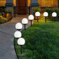 Large Solar Powered Globe Ball Garden Stake Post Lights Path Ground LED Lighting