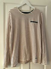 Ladies Cottonfield cream/red striped nautical style cotton top XL