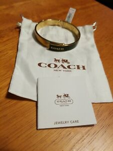 Authentic NWT 54892 Coach Black & Gold colored Bracelet w/Dustbag & Care Card
