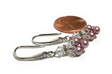 Vintage Dainty Pink Faux Pearl Minimalist Earrings with Swarovski from Crystal