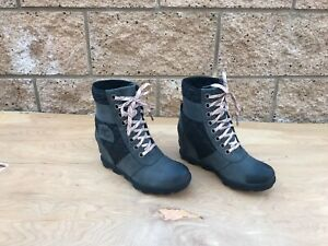 Women's Sorel Lexie Wedge Boot , Gray Leather , Sz US 7.5
