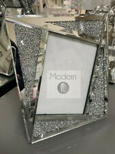 Angled crushed Diamond 7x5 photo frame, mirror glass trim with crushed sparkle