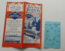 Antique Travel Brochure The Gray Line Bus See Boston 1940's