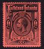 Falkland Islands. 1914. SG 69, £1 black/red. Fine mounted mint.
