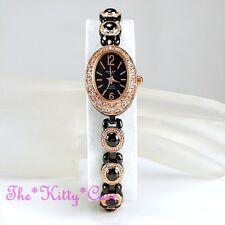Classic OMAX Gunmetal, Rose Gold Plt Seiko Movt Watch w Swarovski Crystal JES044