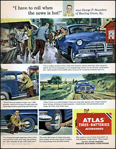 1951 George Saunders Bowling Green KY Atlas Auto Tires  vintage art print ad L63