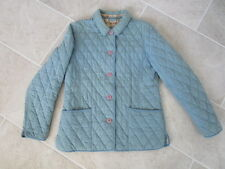 L.L. Bean Medium Quilted Vintage Blue Coat, insulated plaid lining,