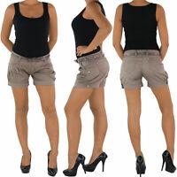 Hot Pants Hotpants Stoffhose Shorts Kurze Hose Capri Hüft Stretch Chino 3 Farben