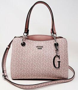 NEW GUESS Women's Blush Pink Logo Print Small Satchel Crossbody Handbag Purse