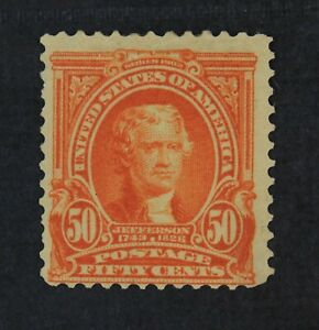 CKStamps: US Stamps Collection Scott#310 50c Jefferson Mint H OG Tiny Tear Thin