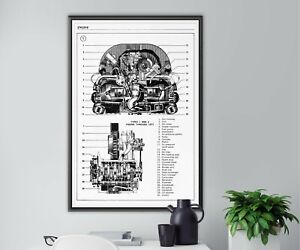 """Volkswagen ENGINE POSTER! (up to 24"""" x 36"""") - Upright - VW Bug - Type 1 & 2"""