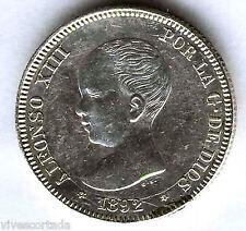 Alfonso XIII 2 Pesetas 1892 Pelon P.G.M. @@ Excelente @ EBC @