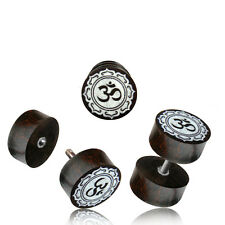 PAIR TAMARIND WOOD FAKE INLAY OM CHEATER PLUGS 18g PLUG 2G HEADS