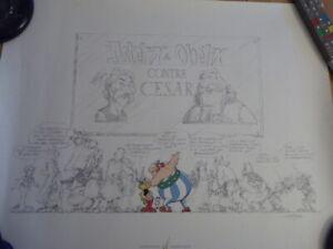 Sérigraphie d' Uderzo  Astérix et Obélix contre César