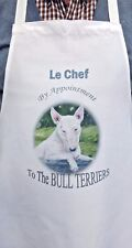 BULL TERRIER DOG APRON DESIGN KITCHEN ACCESSORY COOK SANDRA COEN ARTIST PRINT