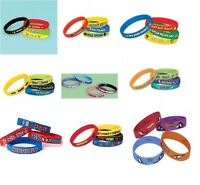 RUBBER BRACELETS/WRIST BANDS - 4 Pack (Party Favours/ Gifts) Variety of Themes