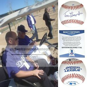Tommy Lasorda Los Angeles Dodgers Signed Autographed Baseball Proof Beckett Tom