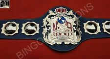 Old NWA Domed Globe Championship Of The Worlds Leather Belt, 4MM 24KT Gold Zinc