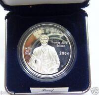 """2004-P """"PROOF"""" Thomas Alva Edison Commemorative 90% Silver Dollar Coin"""