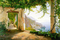 Oil painting Carl Frederic Aagaard - Nice View of Amalfi Coast summer landscape