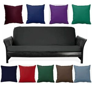 Black Full Size Futon Cover+Choose Favorite Color Of Pillows Cover! Free S/H