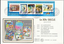 FDC  ENVELOPPE 1er JOUR SOIE GRAND FORMAT TIMBRES XX° SIECLE  SOCIETE