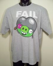 mens xl grey graphic t shirt angry Birds Fail Helmet  pig 90Cotton 10Polyester